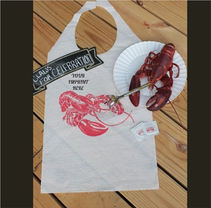 Lobster Bib with Name Drop Logo