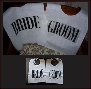 Pair of Cake Cutting Bibs - BRIDE and GROOM - BLOCK