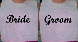 Pair of Cake Cutting Bibs - Bride and Groom - Script