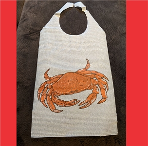 Pack of 25 Adult Disposable Cellulose Poly Bibs with Ties, CRAB