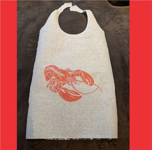 Pack of 25 Adult Disposable Cellulose Poly Bibs with Ties, LOBSTER