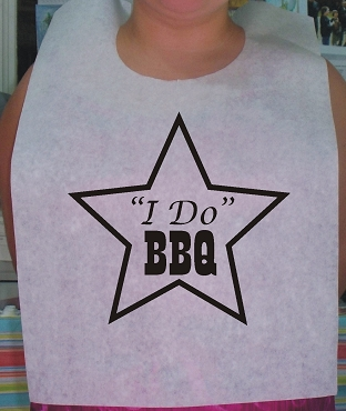 I DO BBQ Star Stock Bibs, Poly Backed Paper with Ties