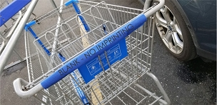 Non-Woven Shopping Cart Handle Cover, BLANK, white, ivory, black or blue, take to the store & reuse, secures with velcro