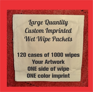 Large qty wipes printed one color, one side