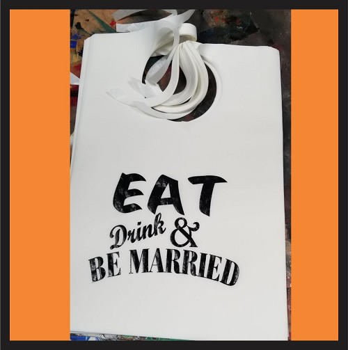 Eat, Drink & Be Married Design 2 Stock Bibs, Poly Backed Paper with Ties