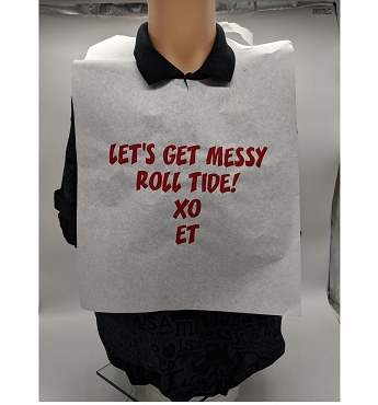 BIB-AX3 Adult Disposable Poly Backed Paper Bibs with Ties, One Color Imprint