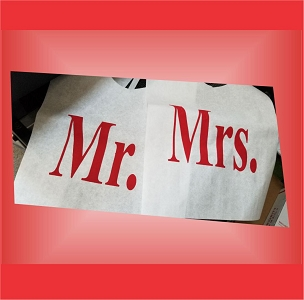 Pair of Cake Cutting Bibs - Mr. and Mrs. - BLOCK