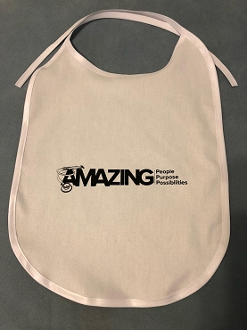 Adult Cloth Bibs with ties, one to full color imprint