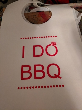 I DO BBQ Diamond Stock Bibs, Poly Backed Paper with Ties
