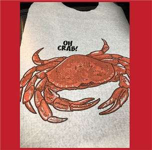 Crab Bib with Name Drop Logo
