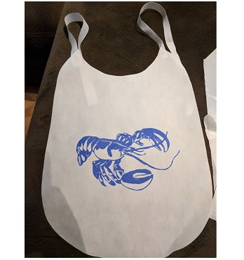 Pack of 25 Lobster Non-Woven Bibs with Ties, ink color choice