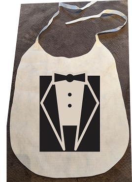 Pack of 25 Tuxedo Non-Woven Bibs with Ties, ink color choice