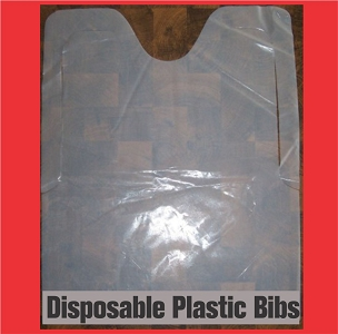 Plastic Blank White Bibs with ties, 25 per pack