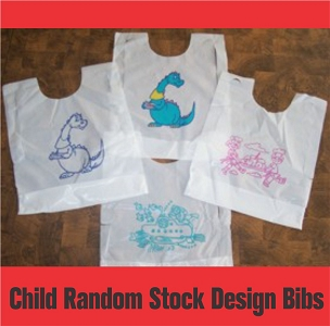 Plastic Child Size Random Design Bibs with ties, 25 per pack