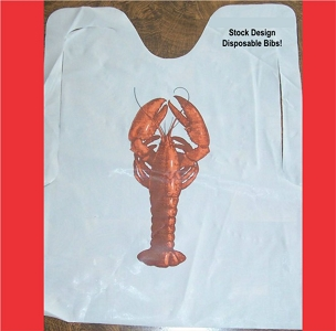 Plastic Lobster Bibs with ties, 25 per pack