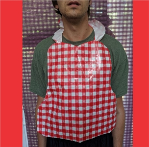 Plastic Red Check Gingham Bibs with ties, 25 per pack