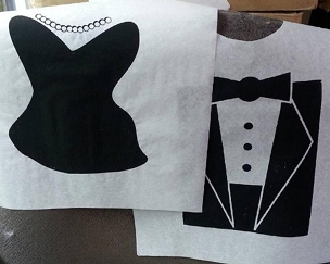 Pair of Cake Cutting Bibs - Tuxedo and Fancy Dress