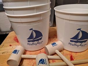 Table Scrap Buckets, Paper or Plastic, White - LABELED