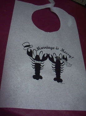 Bride and Groom Lobsters Stock Bibs, Poly Backed Paper with Ties