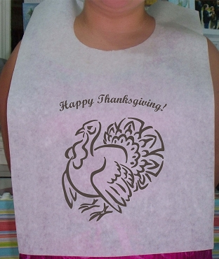 Thanksgiving Turkey Stock Bibs, Poly Backed Paper with Ties