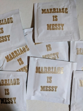 Marriage is Messy 1 Wedding Wet Wipe Packets, packs of 50