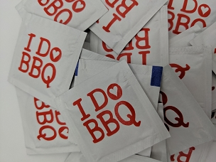 I DO BBQ  Heart Wedding Wet Wipe Packets, packs of 50