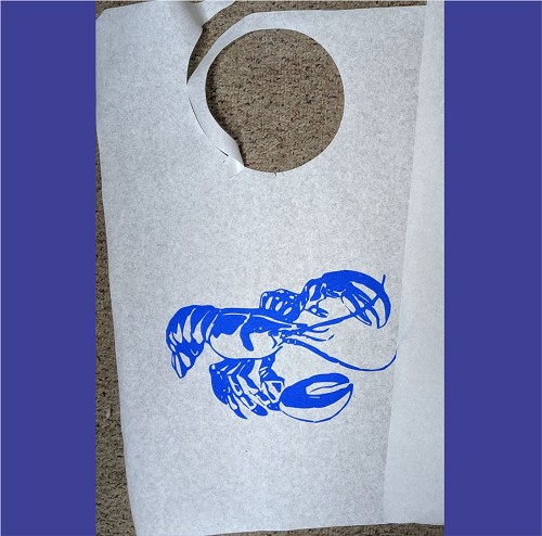 Lobster Stock Bibs, Poly Backed Paper with Ties