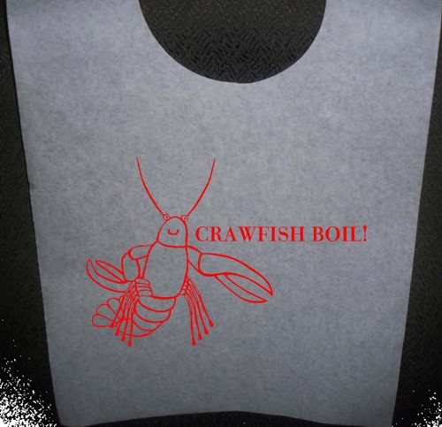 Crawfish Boil Stock Bibs, Poly Backed Paper with Ties