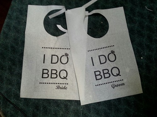Pair of Cake Cutting Bibs - I DO BBQ Bride and Groom