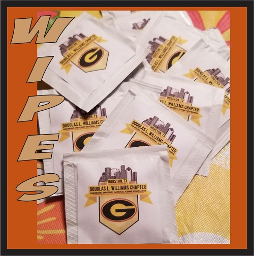 Small qty wipes, printed full color label adhered, one or two sides