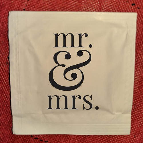 Mr. and Mrs. Wedding Wet Wipe Packets, packs of 50