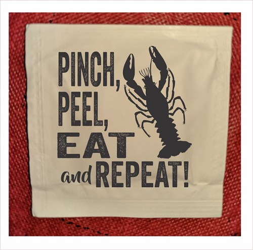 Pinch Eat Repeat Crawfish Wet Wipe Packets, packs of 50